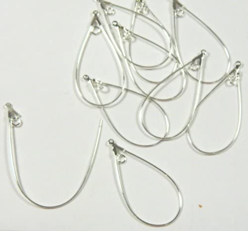 Pair of 5 BeadaholiqueCA Earring Hooks Ear Wires with Bali Style Teardrop Detail Antiqued Silver