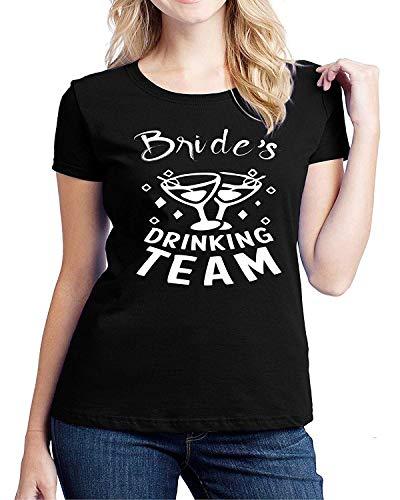 (Gfj65S Womens Fitted Bride's Drinking Team T-Shirt Black)