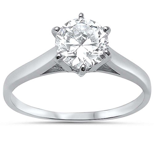 Sterling Silver 1.25ct 7MM Round Soliatire Cathedral Setting Engagement Ring Size 4 Cathedral Four Prong