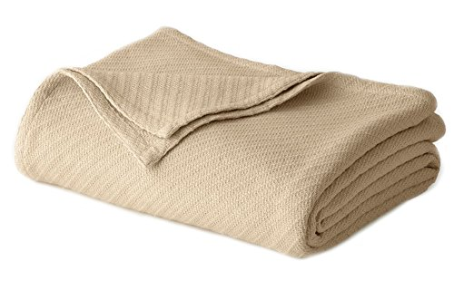 Cotton Craft - 100% Soft Premium Cotton Thermal Blanket - King Beige - Snuggle in these Super Soft Cozy Cotton Blankets - Perfect for Layering any Bed - Provides Comfort and Warmth for years