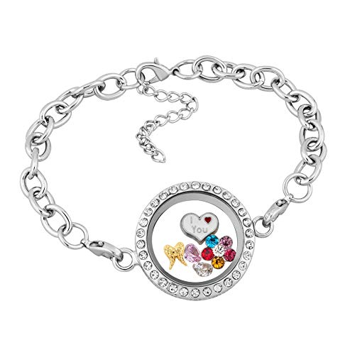 Q&Locket I Love You Flower Heart in Living Memory Glass Round Shaped Locket Bracelet