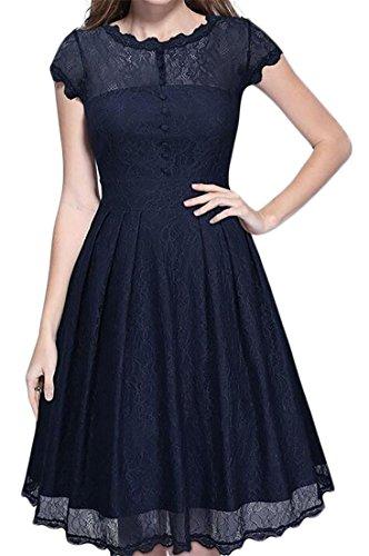 Cruiize Dress Solid Color Hem Navy Lace Stylish Trim Midi Splice Pleated Blue Womens r6FqCwBr