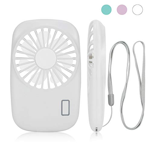 AEOSBIK Small Portable Fan, Speed Adjustable, Battery Operated Rechargeable, Mini Personal Handheld USB Fan for Outdoor, Room, Camping, Office, Travel (White)