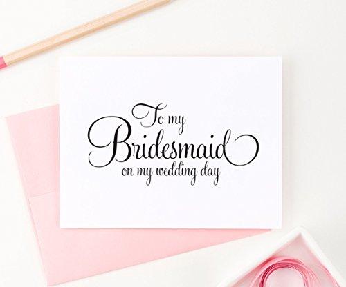 To My Bridesmaid on my Wedding Day, Bridal Party Thank you Cards, Bridesmaid Thank you card, Wedding Party Thank You Card, Set of Greeting cards with envelopes