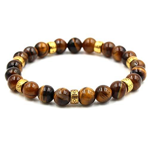 Cat Eye Beaded Charms - BaiYunPOY 8mm Handmade Charm Prayer Beaded Yoga Bracelet for Men Women - Natural Energy Beads Bracelet Healing Bangle - Reiki Tiger Eye