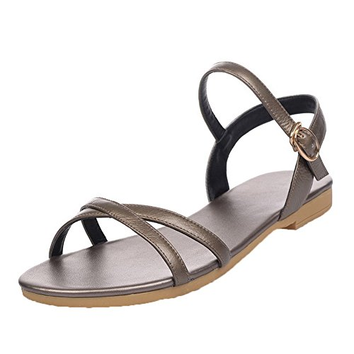 AalarDom Womens Buckle Open-Toe Low-Heels PU Solid Sandals Gold-CHUN