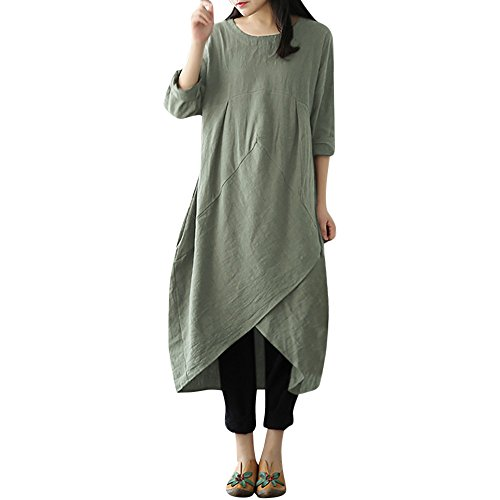 ♥ HebeTop ♥ Long Dress Women Boho Dress Casual Irregular Maxi Dresses Layered Vintage Loose Long Sleeves Linen Dress Green ()