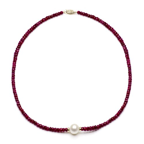 14k Yellow Gold 4mm Simulated Red Ruby and 9-9.5mm White Freshwater Cultured Pearl Necklace, 18""