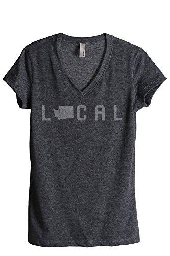 Thread Tank Local Washington State Women's Relaxed V-Neck T-Shirt Tee Charcoal Medium (Evergreen Polyester Thread)