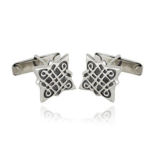 (Sterling Silver Celtic Knot Cuff Links, One Pair Mens Cufflinks)