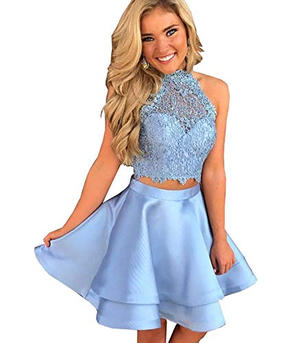 70ee00fdcad ... Women s Short Two Piece Homecoming Dresses for Juniors Lace Halter Prom  Cocktail Gown.   