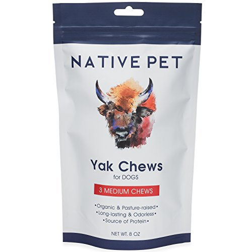 Native Pet Yak Chews for Dogs (3 Medium Chews) – Pasture-Raised Himalayan Yak Chews for Medium Size Dogs – Protein-Rich Reward Treat for Improved Oral Health