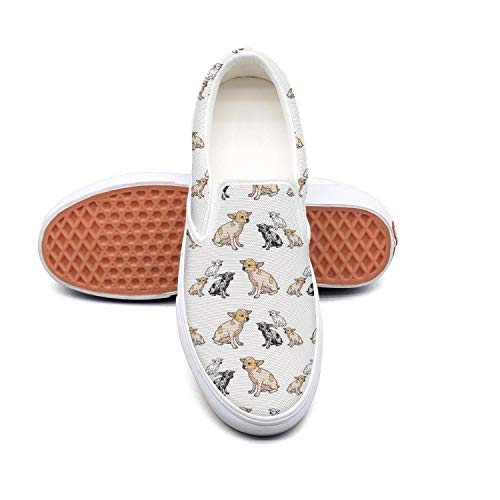Feenfling Chihuah chihuahs Womens Printed Slip on Low Top Canvas Running Shoes by Feenfling