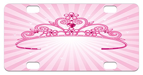 Kids Mini License Plate by Lunarable, Beautiful Shining Pink Fairy Princess Costume Crown with Diamond Figures Girls Print, High Gloss Aluminum Novelty Plate, 2.94 L x 5.88 W Inches, Pink Fuchsia