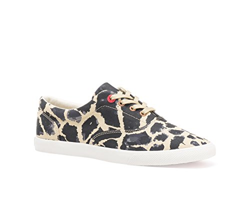 Buckfeet Mujeres Jirafa Low Top Canvas Lace, Beige / Black, Talla 5