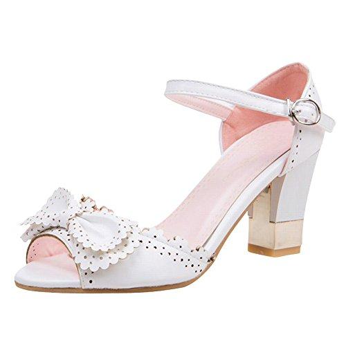 Carol Chaussures Doux Femmes Boucle Élégance Arcs Mode Peep-toe Haute Chunky Talon Sandales Beige Blanc