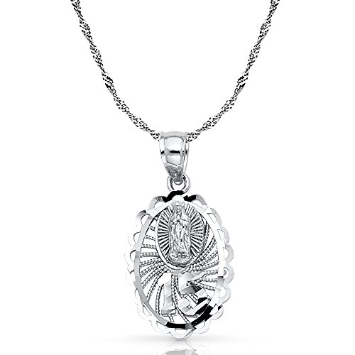 14K White Gold 15 Years Quinceanera Years Charm Pendant with 0.9mm Singapore Chain Necklace - 20""