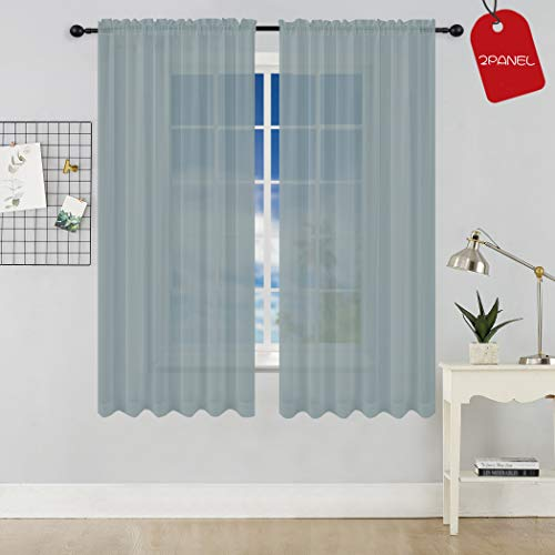 KEQIAOSUOCAI 2 Pieces Sheer Window Grey Curtains for Bedroom,Solid Gray Sheer Voile Drapes Top Rod Pocket,Each Panel is 52