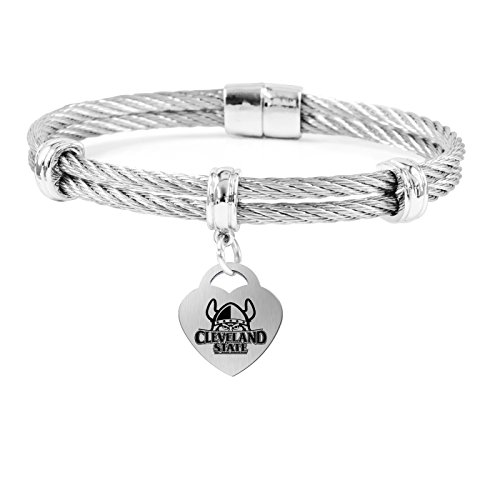 College Jewelry Cleveland State Vikings Charm Bracelet | Stainless Steel Magnetic Clasp Bangles