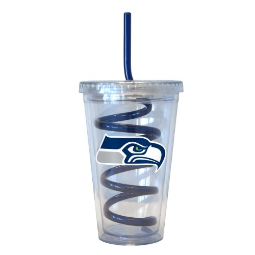 NFL Seattle Seahawks Tumbler with Swirl Straw, 16-ounce