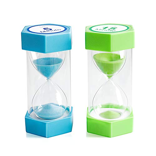 Sand Timer,XINBAOHONG Hourglass Sand Timer 5 Minutes 15 Minutes Timer Clock for Kids Games Classroom Home Office Kitchen Use (Pack of 2)
