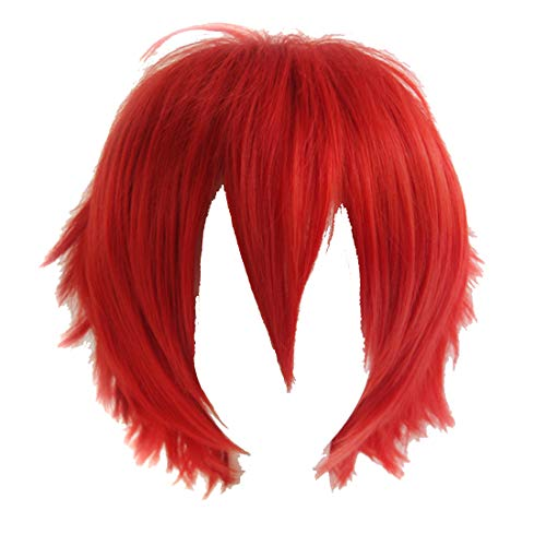 Alacos Synthetic Short Straight Red Fluffy Full Head Wig Men Women Spiky Hair Anime Cosplay Costume Party Wig ()
