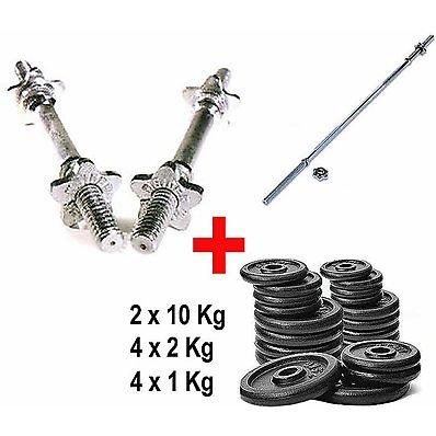 Kit 180 balancín + mancuernas + pesas de 32 kg: Amazon.es: Deportes y aire libre