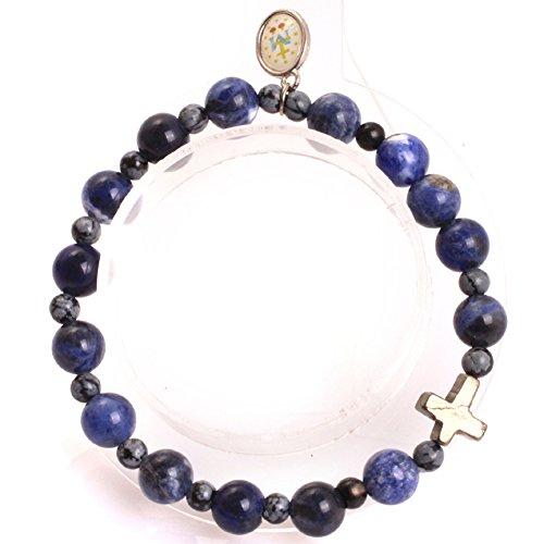 GEM-inside 8mm Blue Sodalite Mala Prayer Rosary Beads Bracelets Elastic Catholic Christian Jewelry for Men Women 7