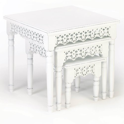 Wood Cutwork Nesting Table Set