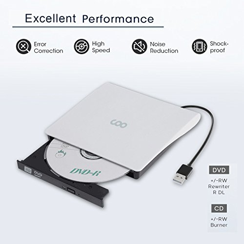 CD Drive, COO USB 3.0 External CD Drive Portable CD DVD +/-RW Drive Slim DVD/CD Rom Rewriter Burner High Speed Data Transfer External DVD Drive for Laptop Macbook Pro/Desktop Windows 7/8/10 (White) by COO (Image #1)
