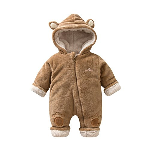 AIKSSOO Infant Baby Boys Girls Winter Warm Outfit Hooded Jumpsuit 3D Ears Romper Size 6-9M (Brown) by AIKSSOO