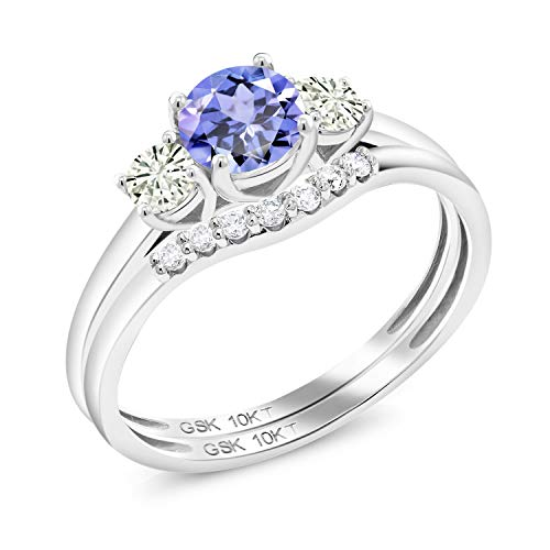 10K White Gold 3-Stone Bridal Set Rings Round Blue Tanzanite and Forever Classic Created Moissanite 0.20ct (DEW) by Charles & Colvard (Size - Ring Diamond Tanzanite Round