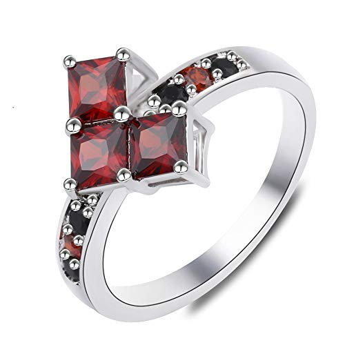 Harley Quinn Ring Poker Shape for Women Suicide Squad Red Crystal Cubic Zirconia Wedding Party Costume Jewelry ()