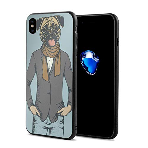 Compatible with iPhone X Case,Abstract Image of A Dog with Human Proportions with Jacket Scarf and Jeans Absurd,Soft Rubber Phone Case Cover