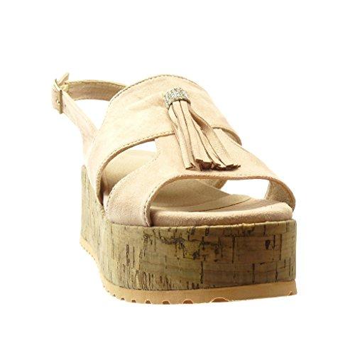Angkorly - Chaussure Mode Sandale Mule plateforme femme frange pom-pom strass diamant Talon compensé plateforme 6.5 CM - Rose