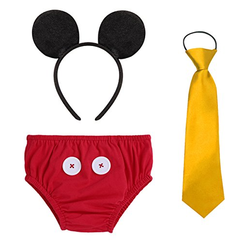 Cake Smash Mickey Outfit Baby Boy First Birthday Party Wedding Bottoms Photography Props 3pcs Clothes Set Halloween Costume #3 Triangle Button Red 6-12 Months