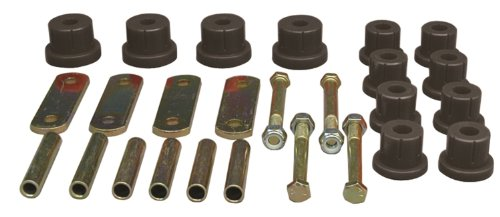 (Prothane 7-1050-BL Black Rear Multi Leaf Spring Eye and HD Shackle Bushing Kit)