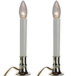 Home-X Brass Plated Candle Lamp with On/Off Sensor with Suction Cup (Set of 2)