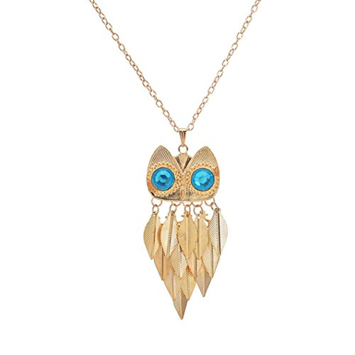 Botrong Good Gift Bohemia Retro Owl Turquoise Necklace Delicate Carved Jewelry (Carved Emerald Ring)