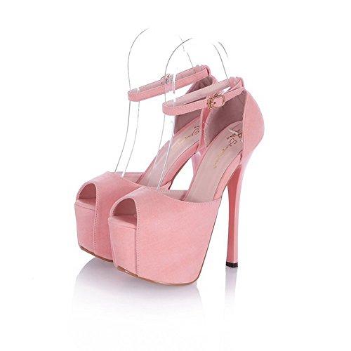 Amoonyfashion Femmes Boucle Pointes Stilettos Pu Solide Peep Toe Sandales Rose