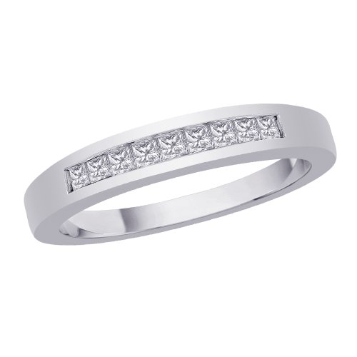 KATARINA 9-Stone Channel Set Princess Cut Diamond Band in Sterling Silver (1/4 cttw) (Size-9.5)