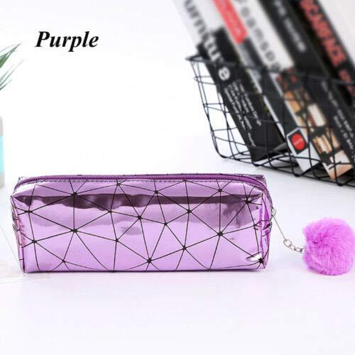 Holographic Handbags Cosmetic Bag Laser Pencil Case Makeup Pouch Plush Ball (Color - purple)
