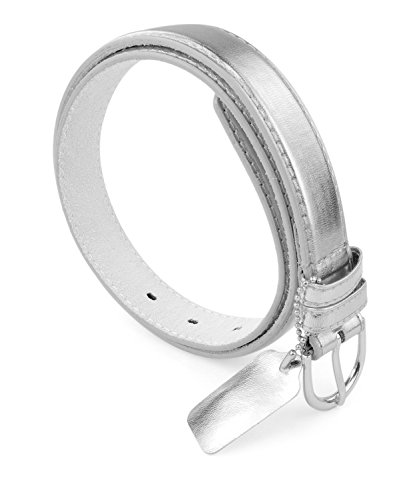 Belle Donne Women Skinny Belt 1 in Wide Bonded Leather Dress Belt - (Silver Belt)