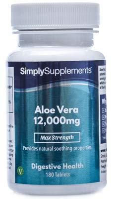 Aloe Vera 12,000mg Extra Fuerte | Efectos calmantes para mejorar la digestión | 180 comprimidos
