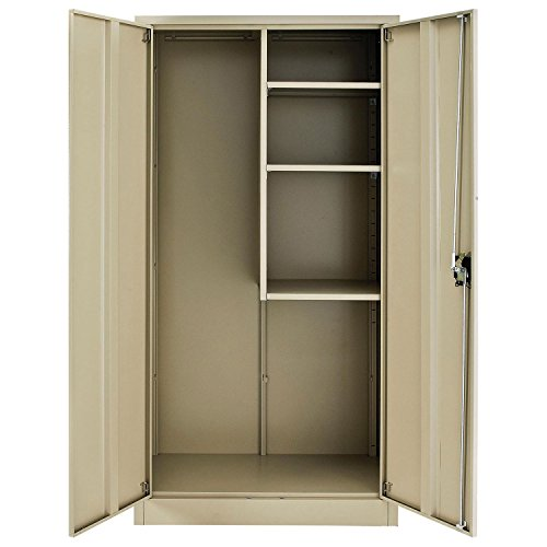 Global Industrial Assembled Janitorial Cabinet, 36x18x72, Tan