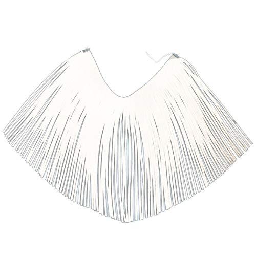 Statement Necklace & Tassel Earrings Set, Trendy Novelty Velvet Choker for Women Teen Girls by Loobani (White)