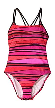 Speedo Womens Double Strap Swimsuit 6 Red and Pink Stripe