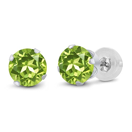 Gem Stone King 1.80 Ct Round 6mm Green Peridot 14K White Gold Stud Women's Earrings