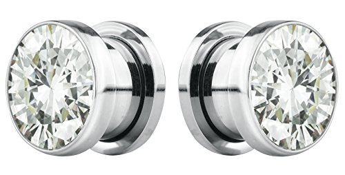 Forbidden Body Jewelry 12mm (1/2 Inch) Surgical Steel Screw Fit CZ Center Tunnel Plug Earrings (2pcs) ()