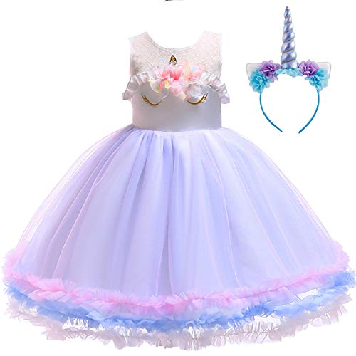 Girls Unicorn Dress up Costume Princess Dressing Gown Ruffle Tulle Tutu Skirt + Horn Headband Christmas Birthday Party Outfits for Kids Pageant Wedding Casual Photography Purple 2pcs Set 2-3Y for $<!--$15.16-->